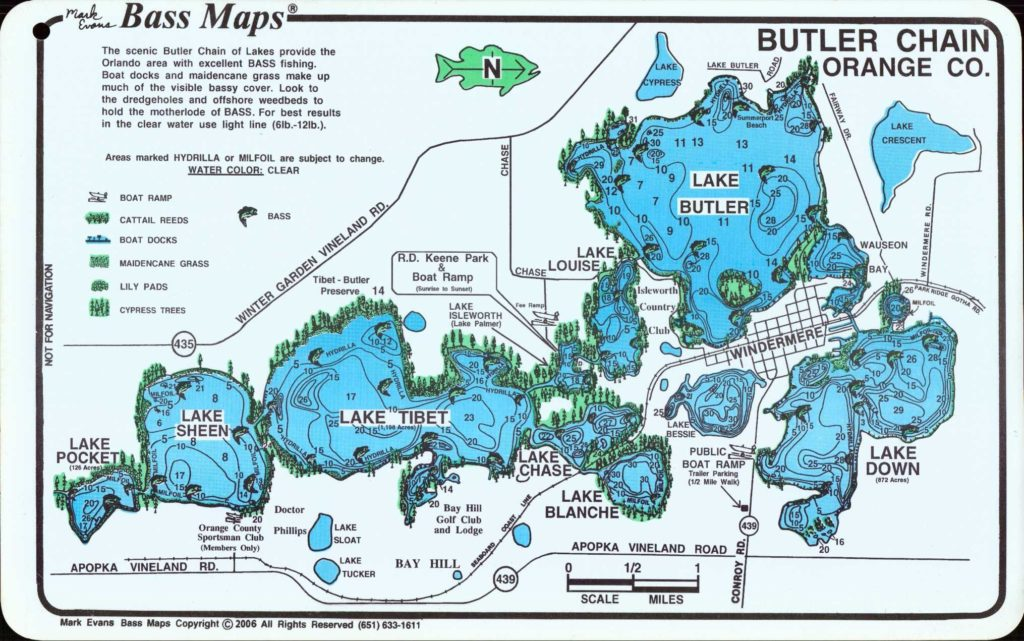 Butler Chain Bass Fishing Map