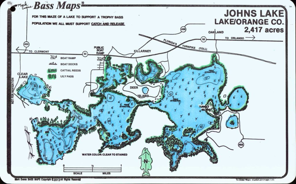 Bass Fishing Map for Johns Lake